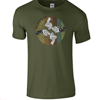 Men's Military Green Living In F E A R TShirt